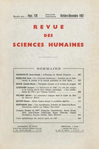 revue des sciences humaines n 128 octobre d cembre 1967
