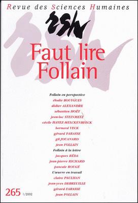 Revue des sciences humaines n 265 janvier mars 2002 for Revue sciences humaines