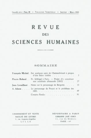 Revue des sciences humaines n 65 janvier mars 1952 for Revue sciences humaines