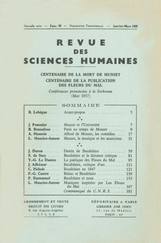 Revue des sciences humaines n 89 janvier mars 1958 for Revue sciences humaines
