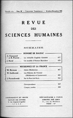 Revue des sciences humaines n 80 octobre d cembre 1955 for Revue sciences humaines