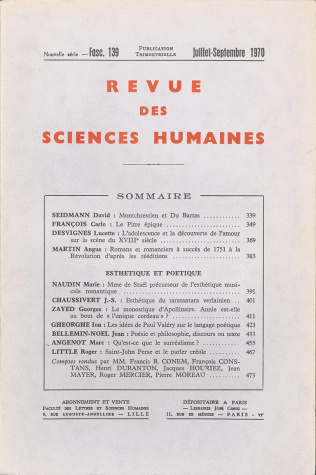 Revue des sciences humaines n 139 juillet septembre 1970 for Revue sciences humaines