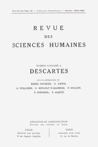 Revue des sciences humaines n 61 janvier mars 1951 for Revue sciences humaines