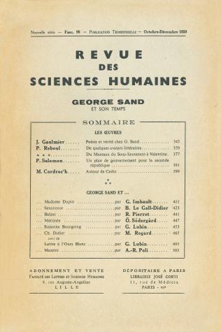 Revue des sciences humaines n 96 octobre d cembre 1959 for Revue sciences humaines