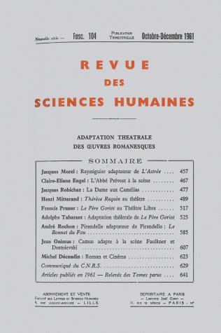 revue des sciences humaines n 104 octobre d cembre 1961