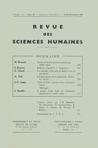 Revue des sciences humaines n 87 juillet septembre 1957 for Revue sciences humaines