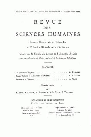 Revue des sciences humaines n 53 janvier mars 1949 for Revue sciences humaines
