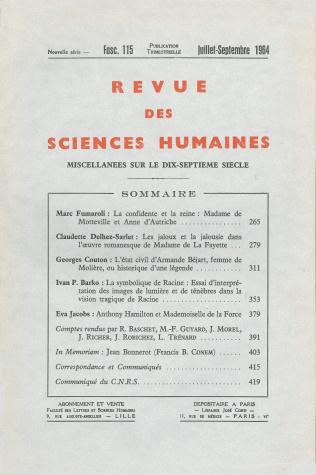 Revue des sciences humaines n 115 juillet septembre 1964 for Revue sciences humaines