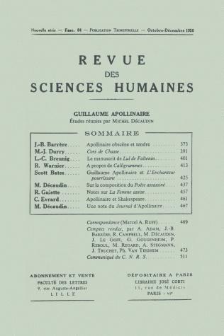 revue des sciences humaines n 84 octobre d cembre 1956