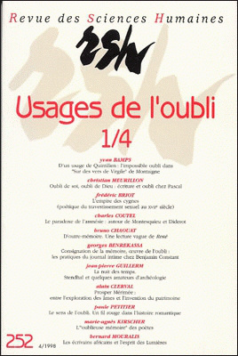 Revue des sciences humaines n 252 octobre d cembre 1998 for Revue sciences humaines